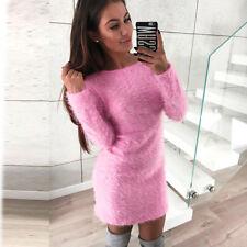 Womens Ladies Long Sleeve Bodycon Dress Sweater Fleece Warm Basic Mini Dresses Black S