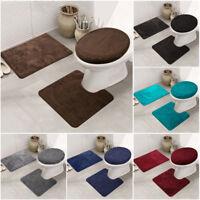 3PCS/Set Non-Slip Bathroom Rug Set Bath Mat + Pedestal Mat + Toilet Seat Cover