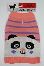 Pink Panda Face Doggie Sweater Size Small NEW