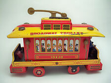 Vintage 1960's Tin litho Broadway Trolley Car battery op- MT Japan-RARE-Working