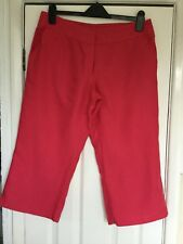 F&F Bright Pink Linen 3/4 Lenth Trousers Size 12