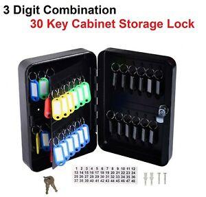 3 Digit Combination 30 Key Cabinet Storage Lock Wall Mounted Metal Safe Locking