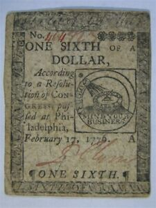 February 17 1776 one sixth $ DOLLAR Colonial Fugio Continental Currency 464723