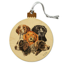 Hunting Breed Dogs Wood Christmas Tree Holiday Ornament