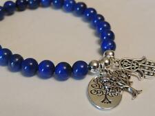 LAPIS LAZULI POWERFUL PROTECTION BLUE GEMSTONE BRACELET-TREE OF LIFE-HAMSA CHARM