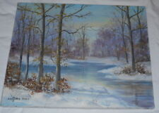 "Signed Marjorie Wren Oil on Canvas Painting Winter Forest Scene ""Sunset"""