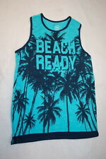 Boys Tank Top Beach Ready Teal, Navy Blue Palm Trees Layered Look Size Xxl 18