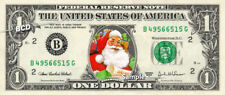 SANTA CLAUS on a REAL Money Dollar Bill Christmas Stocking Stuffer Cash Collect