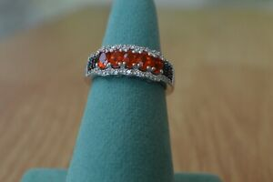 0.94ct Crimson Fire Opal / Spinel /Zircon Ring Platinum over Sterling Silver Sz7