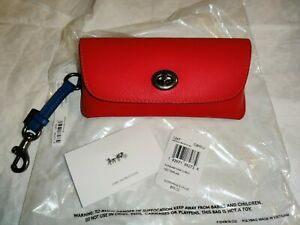 COACH Leather Sunglass Case Colorblock Miami Red Bluejay NWT 1267 MSRP $98