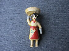 Vintage painted celluloid woman with apron & basket w veggies on head small doll