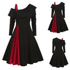 Womens Christmas One Shoulder A-line Dress Ladies Xmas Party Gown Swing Dresses
