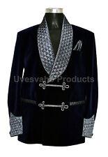Men Smoking Jackets Bilberry Blue Shawl Collar Quilted Velvet Blazers Coats