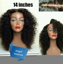 14 inches Brazilian virgin human hair lace front wig deep wave 1B full colour1B