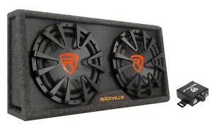 """Rockville RG212CA Dual 12"""" Slim Vented Powered Car Subwoofer Enclosure 2000 Watt"""