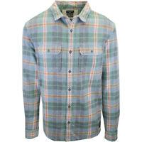 Quiksilver Men's Green Orange Indigo Plaid L/S Flannel Shirt (S06)