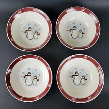 "4 Royal Seasons Snowmen Soup Cereal Salad Bowls 7"" Snowflake Trim Stoneware"