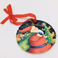 Believe in Santa Christmas Ornament Ceramic Round Disc Red Ribbon