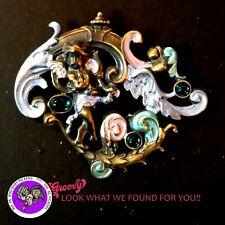 """""""JJ"""" Jonette Jewelry Bronze Pewter 'Fairy Wings Flowers Green Gemstones'  PIN"""