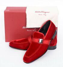 NIB Salvatore Ferragamo Danny 2 Men's Red Plush Velvet Loafers Slip-On Shoes 9 E