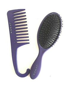 MONAT Hair Limited Edition Wide Toothed Wet Purple Comb +Wide Toothed Brush 2Pc