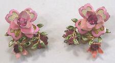 Vintage Jewelry LISNER Earrings EXQUISITE PINK Enamel Flwrs Rhinestones Mesh