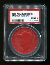VINTAGE - 1959 - ARMOUR COINS - MICKEY VERNON - INDIANS - RED - PSA 9 - MINT
