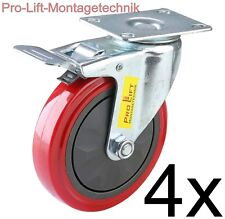 4 Lenkrollen mit Bremse PU-Belag Ø125mm jeweils 150kg pro Lenkrolle  rot J 02362
