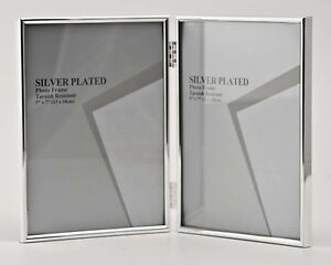 """Double Silver Photo Picture Frame 2.5x3.5"""", 3.5x5"""", 4x6"""", 5x7"""" & 6x8- Shiny Thin"""
