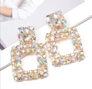 Geometric square multicolour simulated diamonds oval rectangle dangle earrings