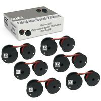 Compatible Calculator Spool 6 Pack Black Red Ribbon for Universal GR24BR