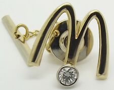 SOLID 18CT YELLOW GOLD MCDONALDS BROOCH/PIN WITH NATURAL DIAMOND & SAFETY CHAIN