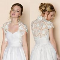 White Ivory Wedding Shrug Bolero Jacket Short Sleeves Lace Wrap Bridal Shawl