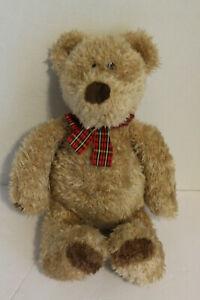 "Gund Teddy bear 15"" with red plaid tie"