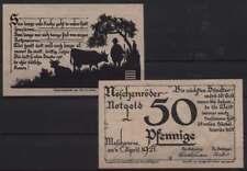 [17733] - 2 x Notgeld nöschenrode, comune, 25 + 50 PF, 01.04.1921, Grabowski/