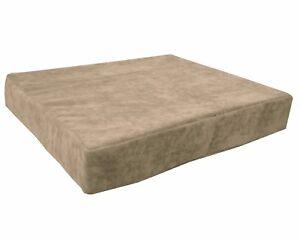 ma05t Tan/Khaki Velvet Style 3D Box Thick Sofa Seat Cushion Cover*Custom Size*