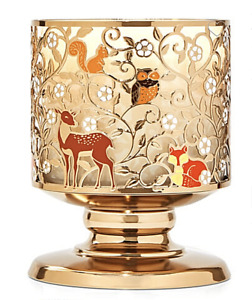 BATH & BODY WORKS CUTE FOREST CREATURES & FLOWERS 3 WICK PEDESTAL CANDLE HOLDER