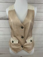 BKE Buckle Women's Small Vest Rose Gold Pleather Lace Boho Country New $55 Vegan