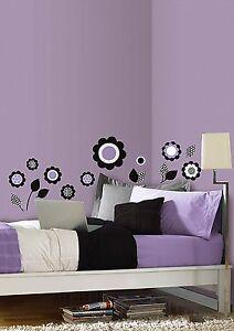 FLOWERS Wall Decals Purple Black Room Decor Stickers Decorations Polka Dot 99789