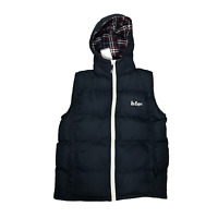 Lee Cooper Mens Padded Gilet Navy Blue Size Large Puffer Hooded Waistcoat