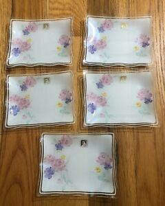 Japanese Glass salad Dessert Plate Set Light pink 5 small 1 medium size plates