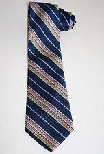 Nautica Mens 100% Silk Tie Navy Blue Pink Green Diagonal Striped Stripes Ribbed