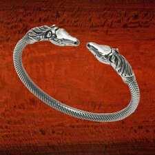 Sterling Silver Horse Heads Flex Bangle - BA25