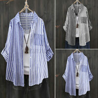 ZANZEA 8-24 Womens Striped Long Sleeve Casual Baggy Tops Shirt Blouse Pullover
