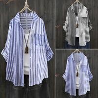ZANZEA 8-24 Womens Striped Long Sleeve Casual Baggy Tops Shirt Blouse Pullover