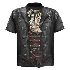 Mens Funny 3D Skull Print Tuxedo T Shirt Gothic Tee Punk Vampire Tops Crew Neck
