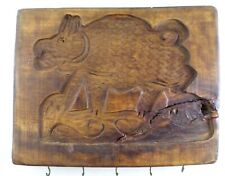 Primitive Carved Boar Wood Folk Art Butter Stamp Mold Springerle - LARGE