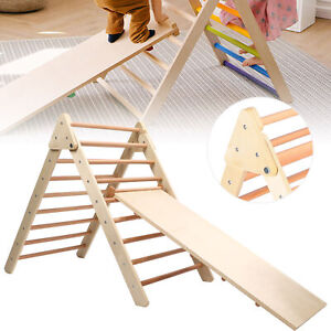 2in1 Wooden Foldable Pikler Triangle w/ Climbing Ladder - Foldable Climber Model