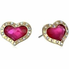 Betsey Johnson Day At The Zoo Pink Heart Stud Earrings