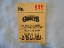 San Francisco Giants March 9th, 1988 Ticket Stub   Free shipping